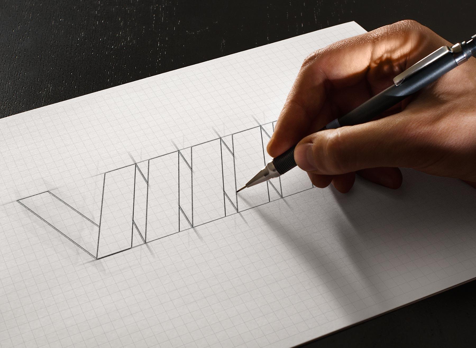 dessin de logo en crayon de papier