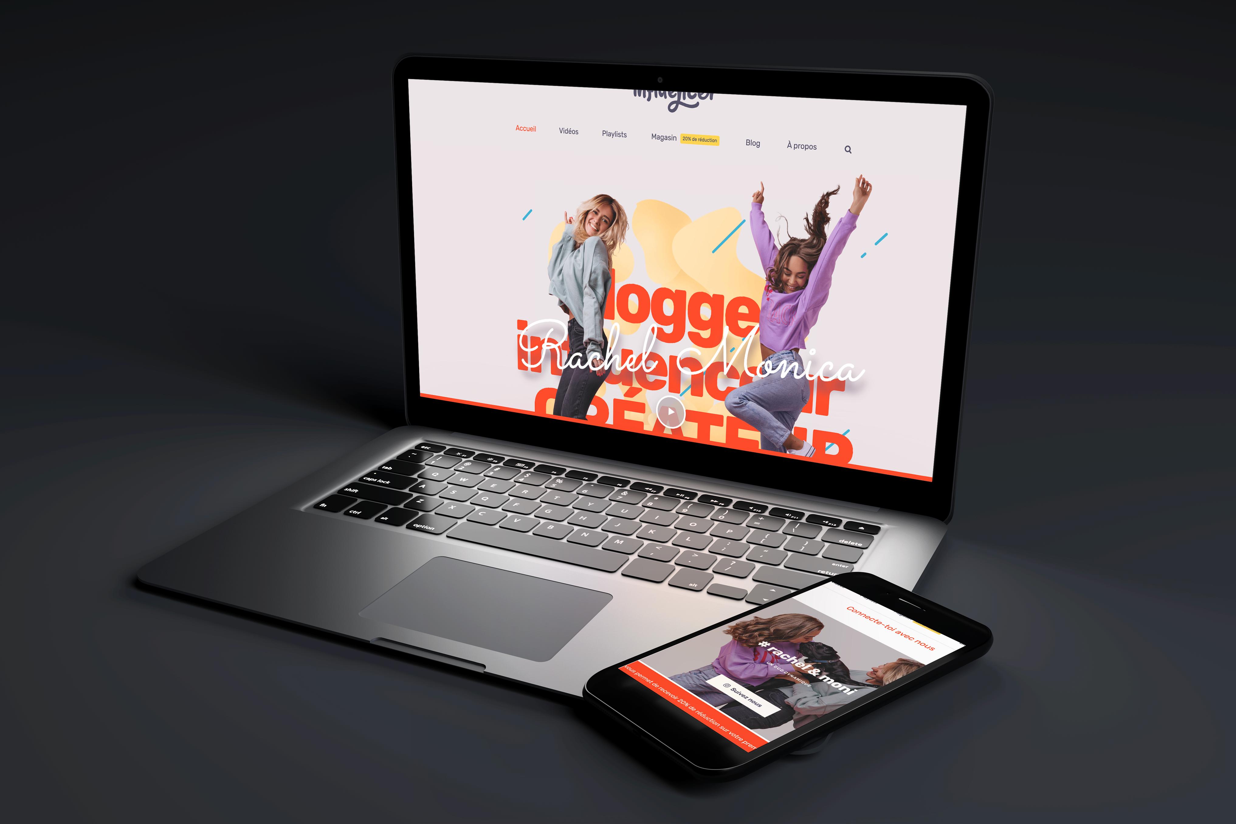 site internet d'influenceur sur template ordinateur