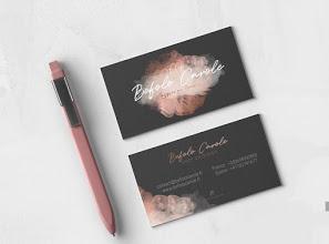 carte de visite beauté noir et rose