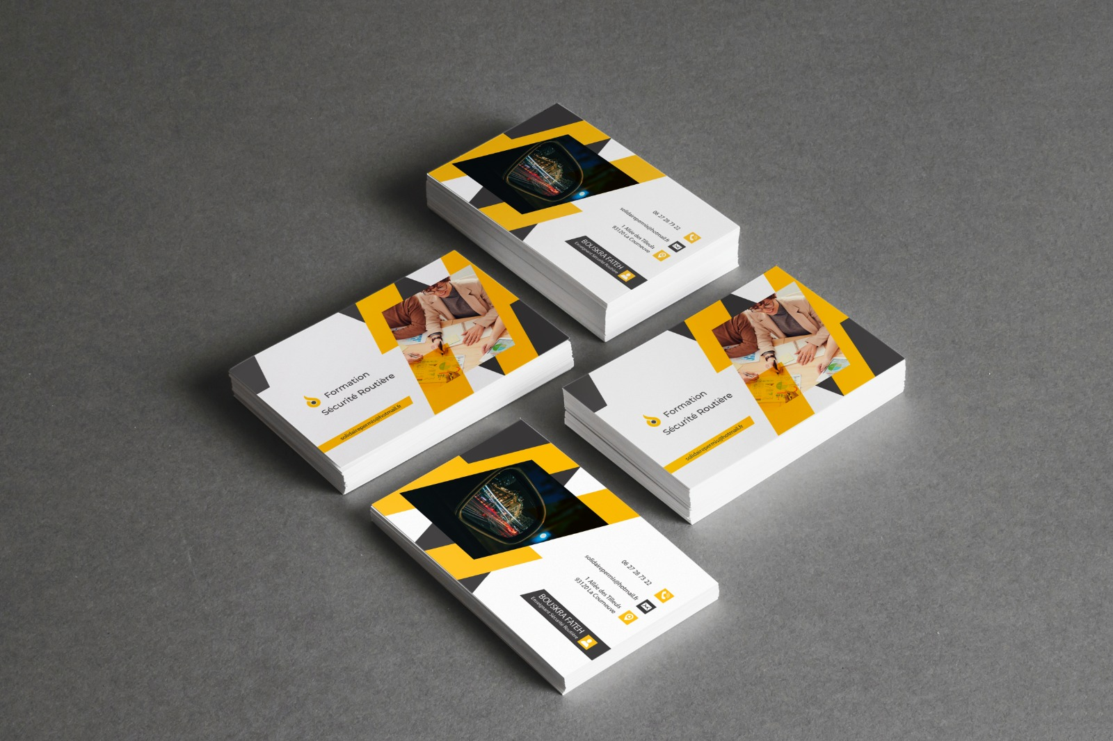 carte de visite jaune et noir