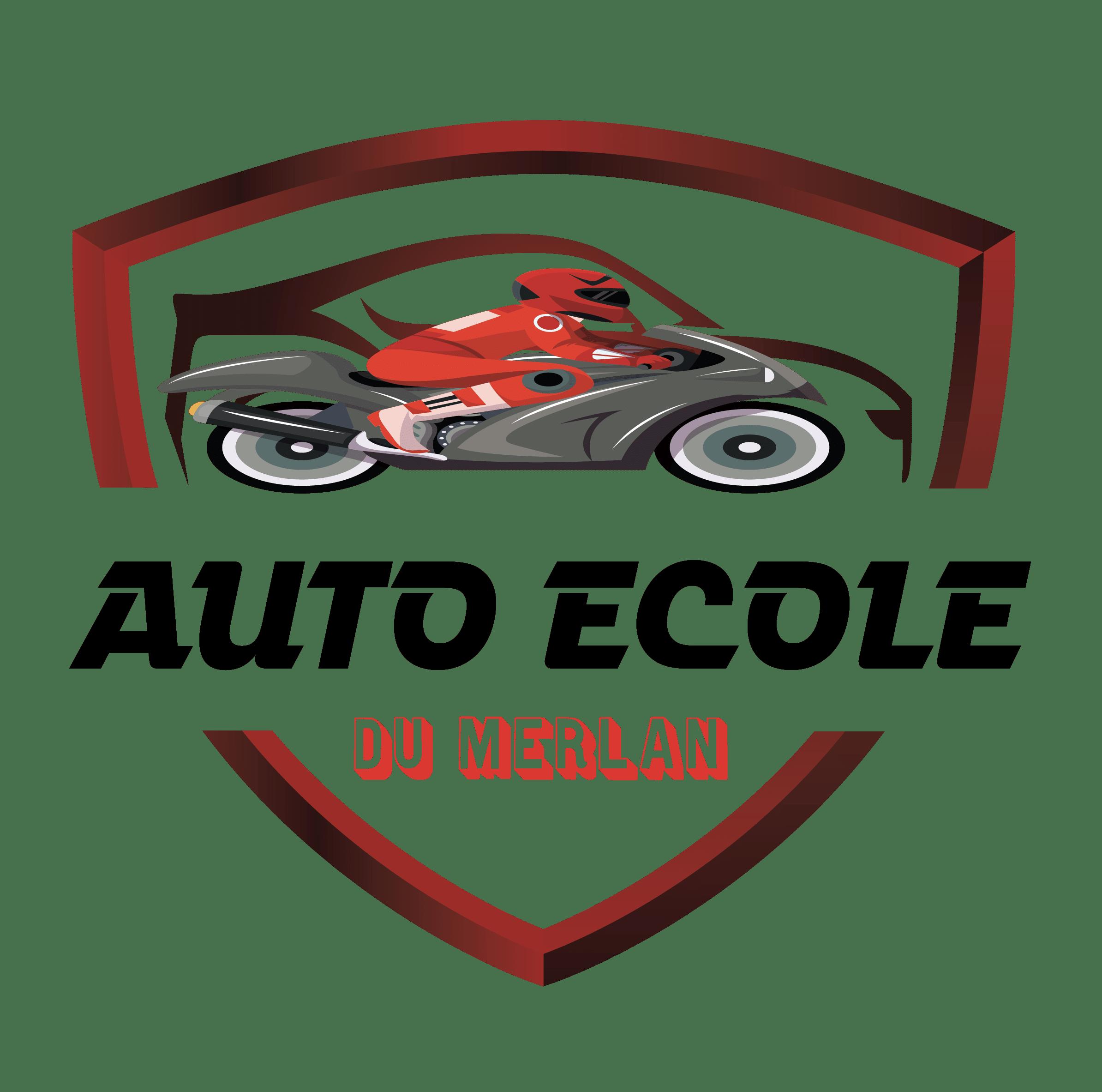 logo auto moto d'une auto ecole du merlan noir et rouge